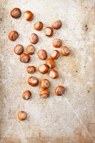 Hazelnuts on a metal surface