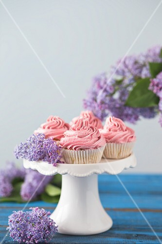 Coconut cupcakes with raspberry frosting
