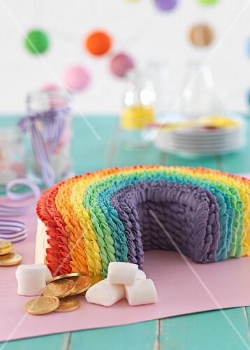 A colourful rainbow cake