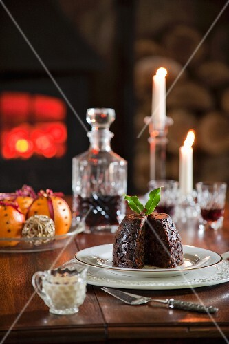 Christmas pudding and spiced oranges