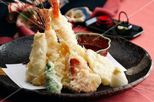 Shrimp tempura with dip (Japan)