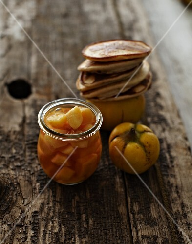 Pancakes with quince compote