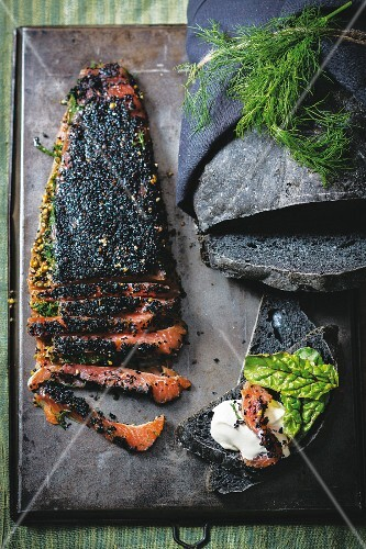 Black bread with smoked salmon
