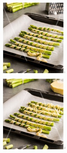 Asparagus wrapped in puff pastry with cheese being made