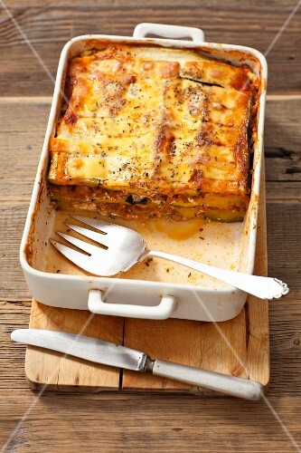 Moussaka with courgettes, potatoes and minced meat