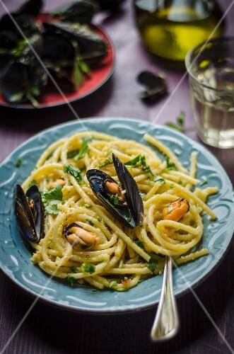 Bucatini al pesto di mandorle con le cozze (noodles with almond pesto and muscles, Italy)