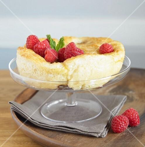 A mini raspberry soufflé