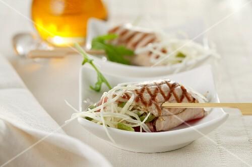 Tuna fish rolls with coleslaw