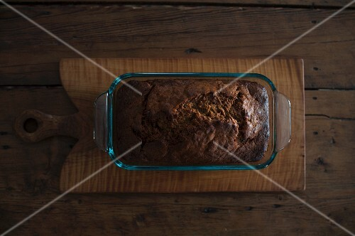 Chocolate cake in a glass baking dish