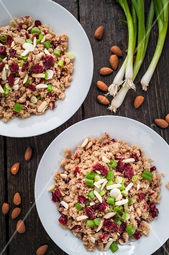 Bulgur salad with almonds, cranberries and spring onions