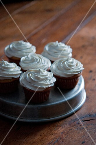 Cupcakes on a metal plate