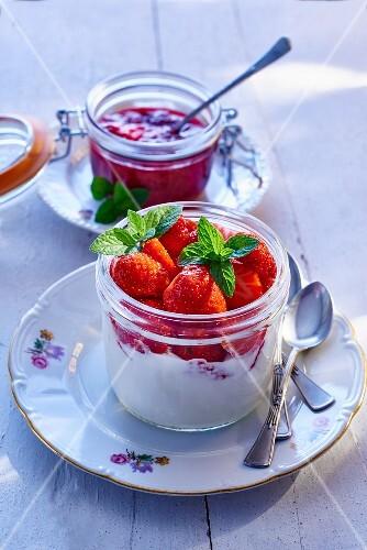 Vanilla quark with strawberries and jam