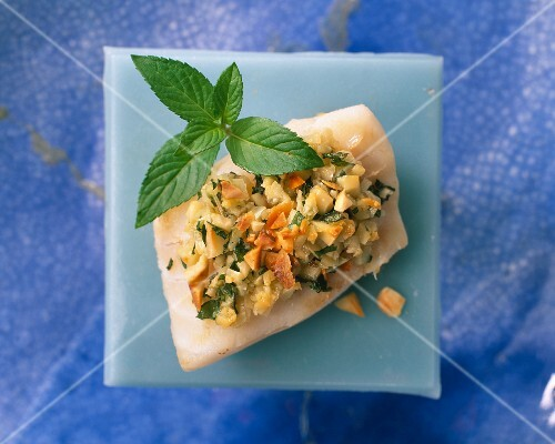 Cod with mint and almonds