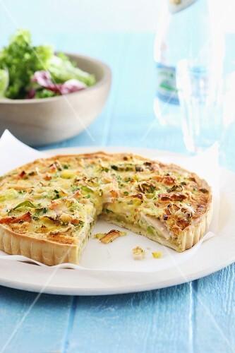 Vegetable and ham tart