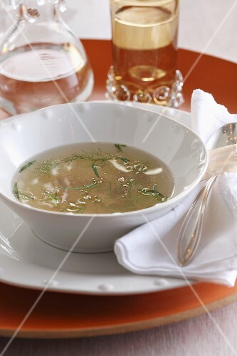 Chicken stock with fresh herbs