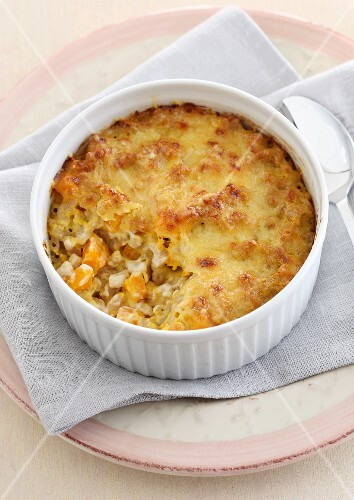 Macaroni bake topped with melted cheese