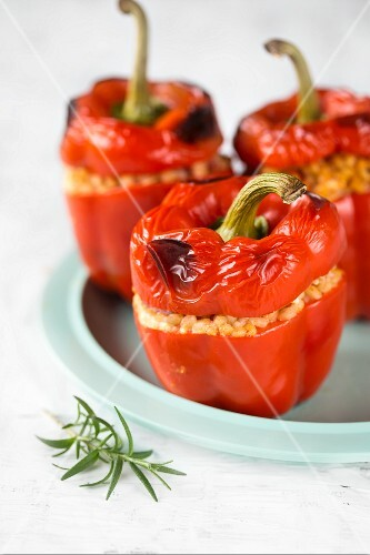 Red peppers stuffed with barley and rosemary