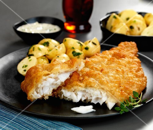 Battered plaice with herb potatoes and tartar sauce