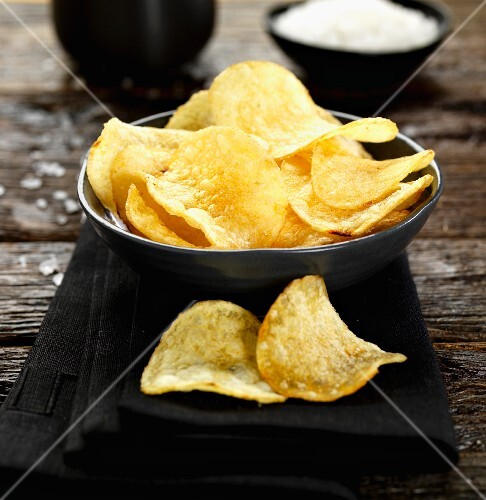 A bowl of sea salted crisps