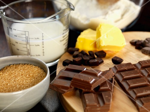 Ingredients for chocolate shortbread