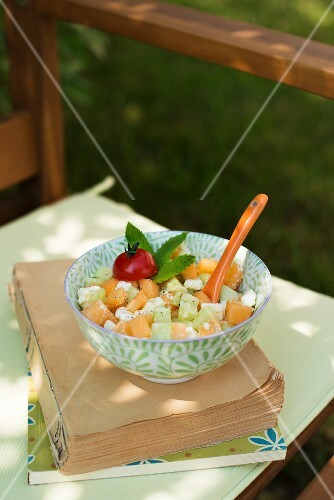 Cucumber salad with feta cheese and melon