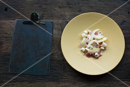 Veal carpaccio with citron and smoked cream, restaurant 'Septime', Paris