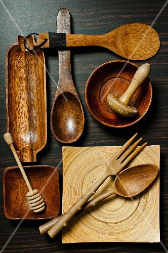 Various wooden kitchen utensils