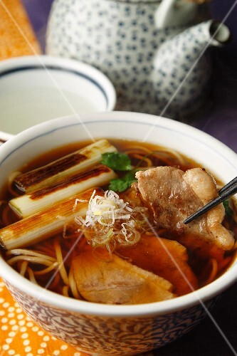 Noodle soup with duck and leek (Japan)