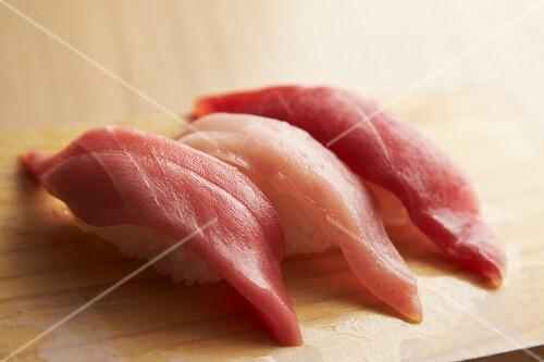 Nigiri sushi with three types on tuna fish