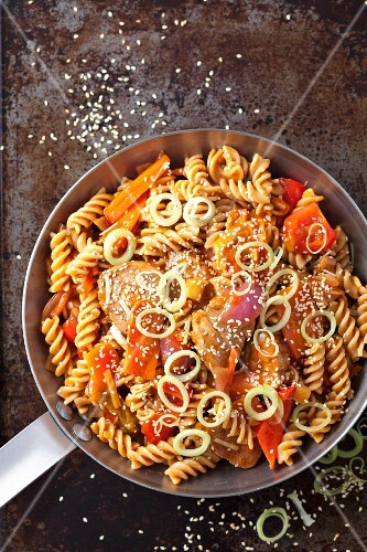 Sweet-and-sour pork loin with wholemeal pasta