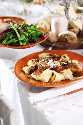 Pappardelle with meat ragout and a side of vegetables