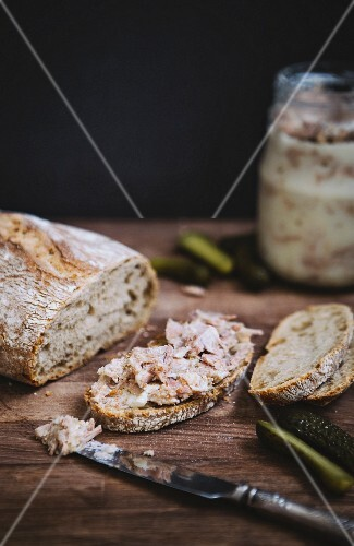 A slice of bread with pork rillettes