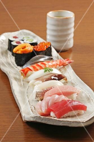 Hand-rolled nigiri and maki sushi