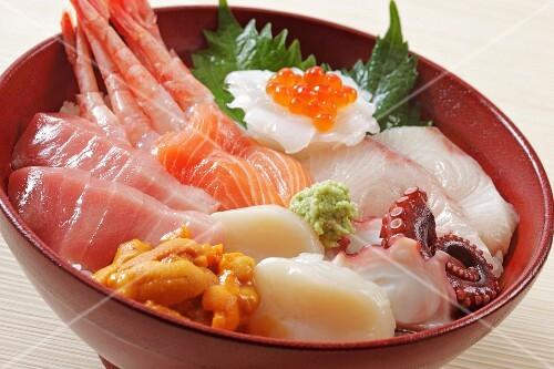 Sashimi with fish and seafood (Japan)