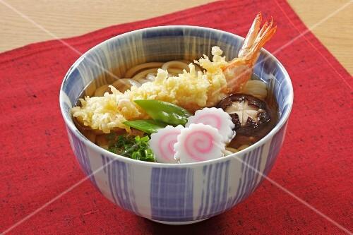 Noodle soup with prawn tempura (Japan)