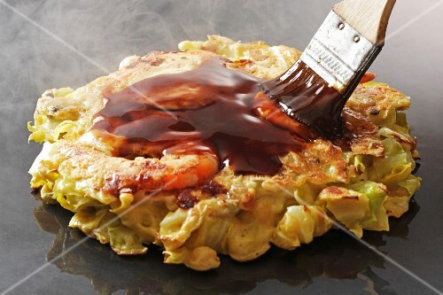 Okonomiyaki with prawns (Japan)