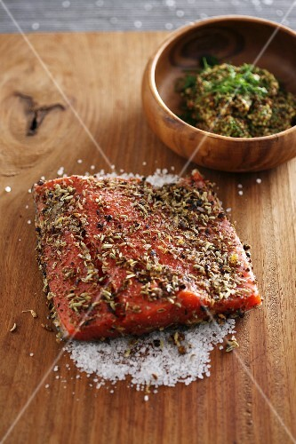 Spiced, salted salmon fillet