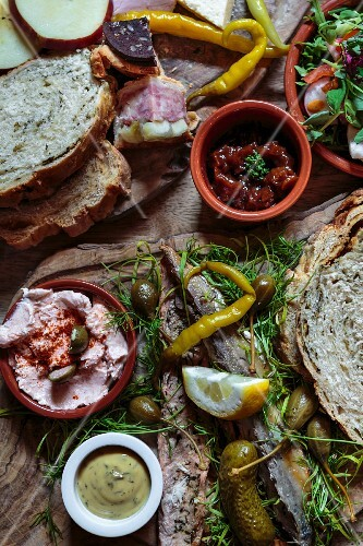 A supper platter with fish, meat and spreads (York, England)