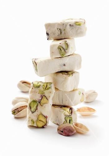 Torroncini nougat with pistachio nuts