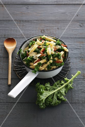 Penne with kale and bacon