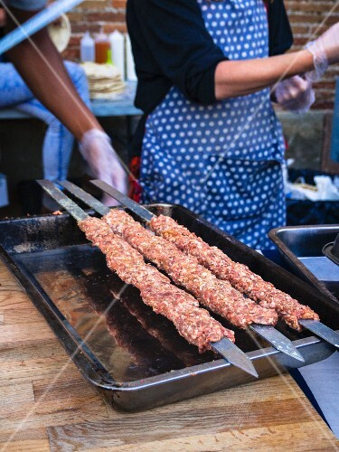 Street food – raw minced meat skewers