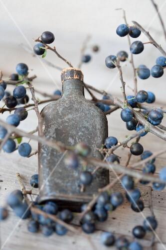 Sloe gin in a metal bottle