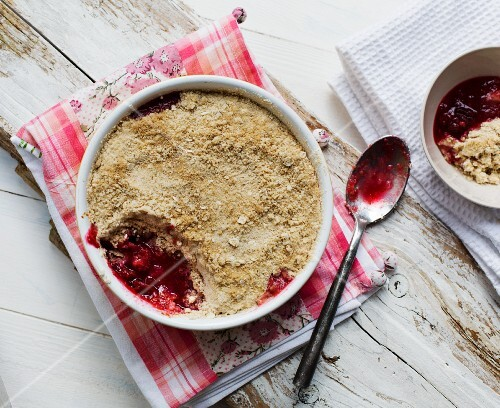 Plum crumble (seen from above)