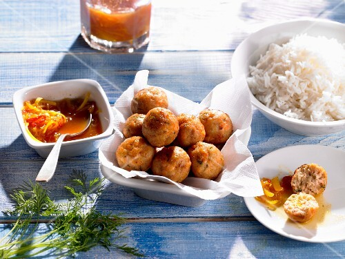 Organic salmon balls served with rice