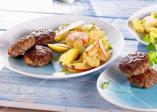 Meatballs with peppers, and a potato and radish salad