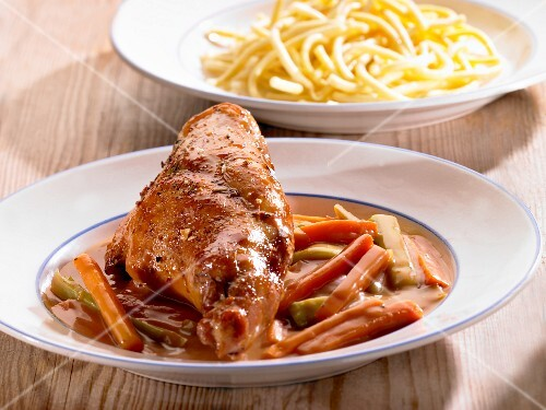 Rabbit and a carrot medley with a side of pasta
