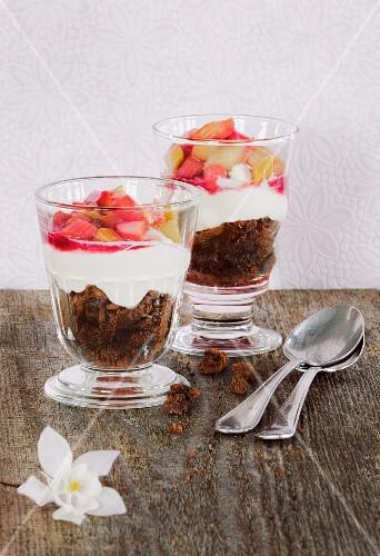 Layered rhubarb and brownie desserts
