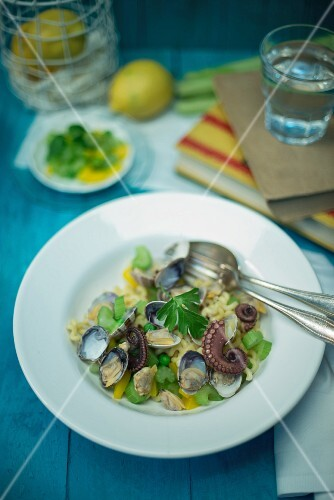 Fusilli lunghi bucati with squid, clams, peas, celery and yellow pepper