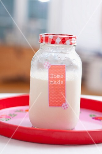 A jar of homemade yoghurt