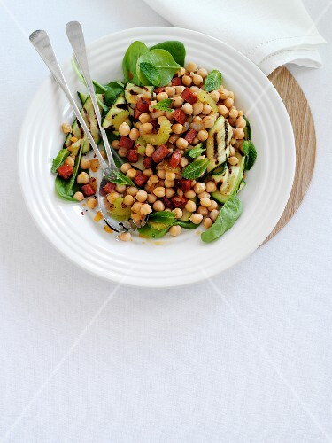 Chickpea salad with chorizo (seen above)